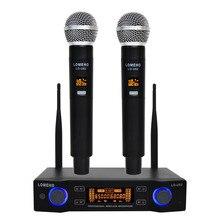 LO U02 Facile Da usare Professionale 2 Palmare UHF Frequenze Capsula Dinamica 2 Canali Microfono Senza Fili per il Sistema di Karaoke
