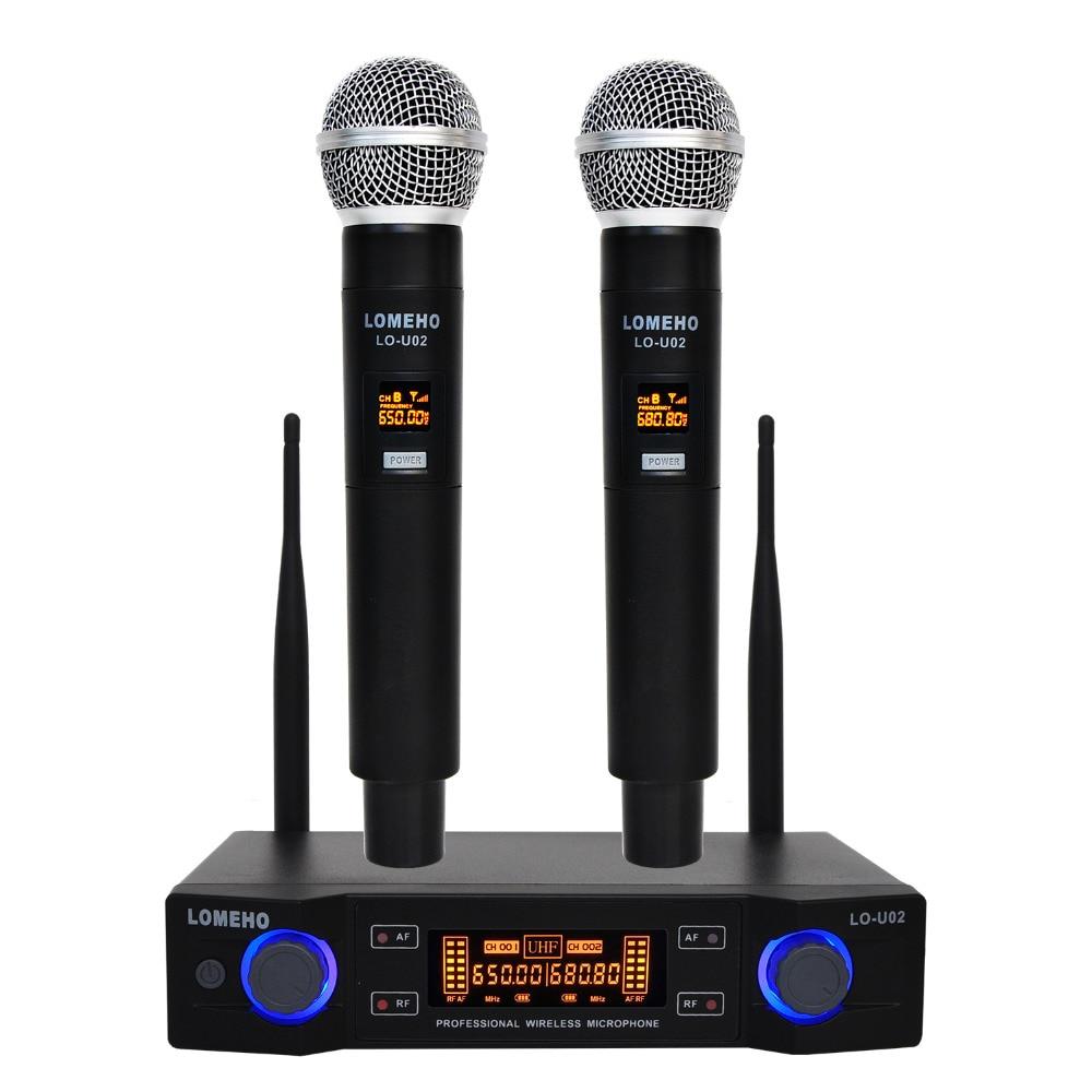 LO U02 UHF Long Range Dual Channel 2 Handheld Mic Transmitter Professional Karaoke UHF Wireless Microphone