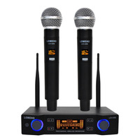 LO U02 UHF Long Range Dual Channel 2 Handheld Mic Transmitter Professional Karaoke UHF Wireless Microphone System
