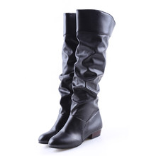 New Fashion Women Boots Spring Boots Botas Female Stretch PU Leather Boots Shoes Woman Black White Roma Knee-Length Boots(China)