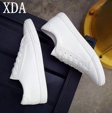 XDA 2019 spring tenis feminino lace-up white canvas shoes woman PU solid color female shoes casual board shoes women shoes