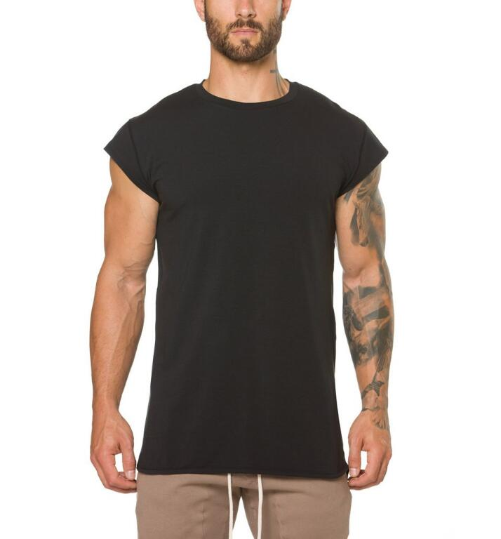 Brand Clothing Fitness T Shirt Men Fashion Extend Long Tshirt Summer Gyms Short Sleeve T-shirt Cotton Bodybuilding Slim Fit Tops