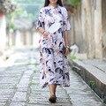 SERENAMENTE Vestidos 2016 Vestidos de Verão Da Lagoa de Lótus do Estilo Chinês Pintura A Tinta Vestido de Linho Plus Size Ocasional Vintage Longo Robe S171