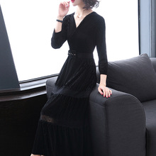 Spring and Autumn Fashion New Long Sleeved Gold Velvet Dress V Neck Lace Waist Dress