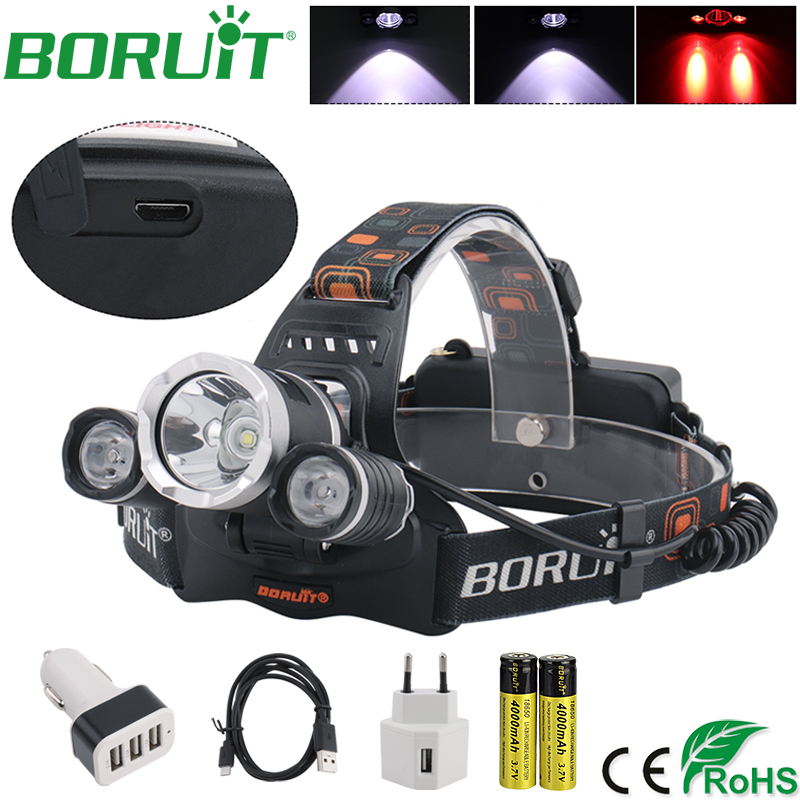 BORUiT XML T6 Red LED Headlamp Flashlight Rechargeable 3 Modes Headlight Waterproof Camping Hunting Head Torch LED Light Lamp boruit ultra bright 3 xml t6 led flashlight rechargeable 3 modes flashlight portable handle light for camping hunting torch lamp