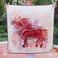 [15% OFF] Belo Cavalo Elegante envoltório das Mulheres de seda Pura grande Praça do Lenço da Seda,, praça lenços de seda crepe de cetim liso