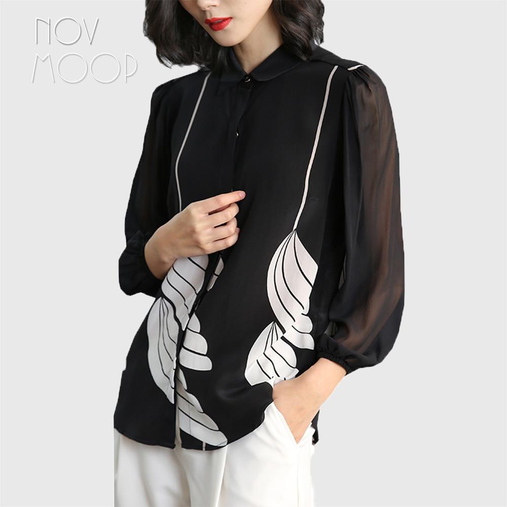 Office style ladies pure natural silk tops and blouses black white floral print silk shirt roupa camisa blusa feminina LT1986