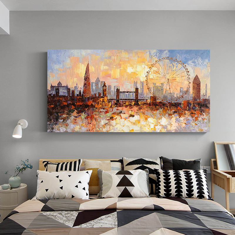 London Skyline oil painting On Canvas quadro caudro modern abstract impasto texture cityscape wall art pictures for living room