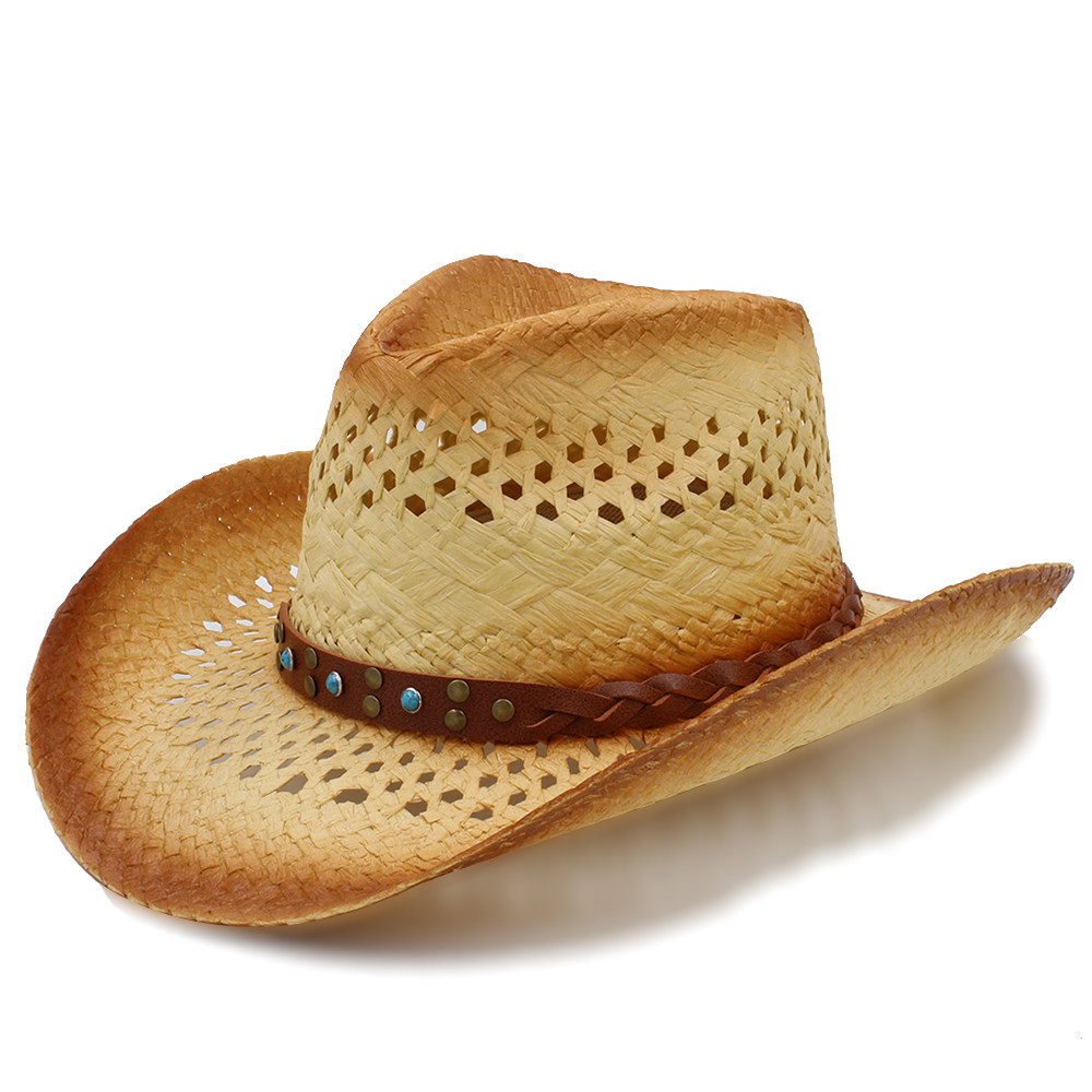 Women Men Straw Western Sun Hat With Punk Leather Band Handemade Weave Sombrero Cowboy Jazz Hat Size 58cm A0125 Supplement The Vital Energy And Nourish Yin Men's Sun Hats Men's Hats