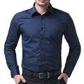 Мода мужчин уменьшают подходящие Soild цвет сорочка Homme деловых хлопок свободного покроя мужские рубашки Camisa высокое качество рубашка