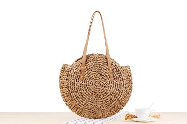 Round Straw Beach Bag Vintage Handmade Woven Shoulder Bag Raffia circle Rattan bags Bohemian Summer Vacation Casual Bags 4