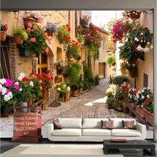 Papel De Parede moderno para Sala de estar Retro Rural Rua Velha Casa Flores Quarto Papel de Parede Fundo Pintura Mural Decoração Da Sua Casa