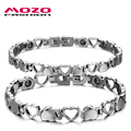 MOZO FASHION Lovers' Couple Jewelry Stainless Steel Magnetic Health Chain Bracelets Heart Hand Bracelet for Women / Men MGS3162