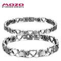 Mozo fashion lovers pareja de joyería de acero inoxidable pulseras de cadena de la mano del corazón de la salud magnética pulsera para las mujeres/hombres mgs3162