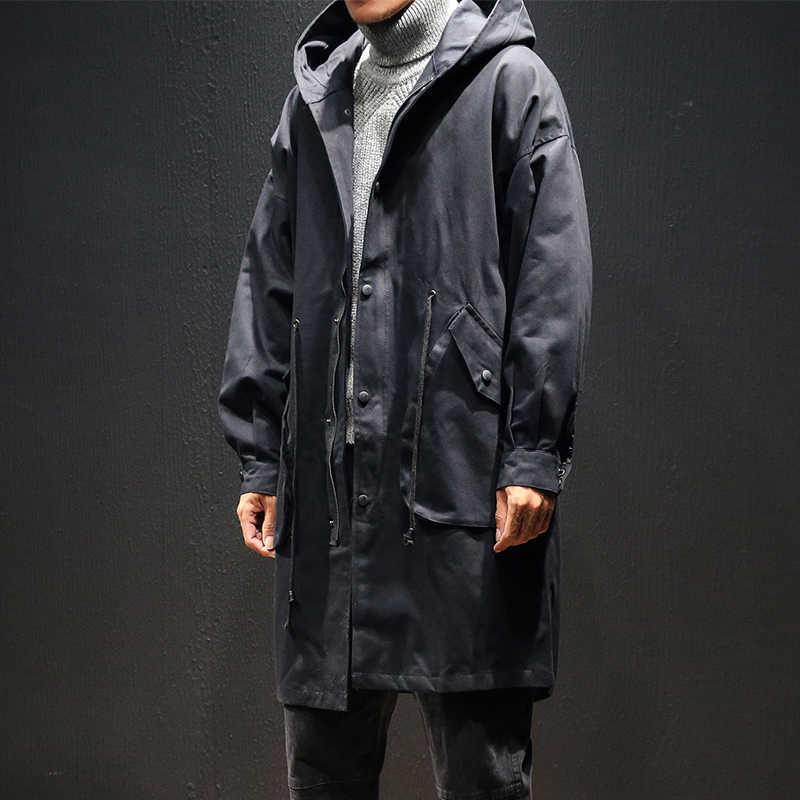 2019 新着秋メンズカジュアルトレンチコートフード付きウインドブレーカー男性のジャケットの男性高品質の綿のコート M-5XL