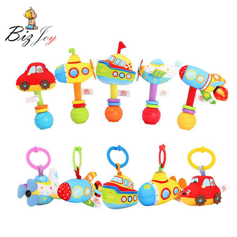 Submarine Rocket Baby Rattle Plush Vibrant Toys Handle Stick Pulling String Vibration Intelligent Hanging Toy for Crib Stroller