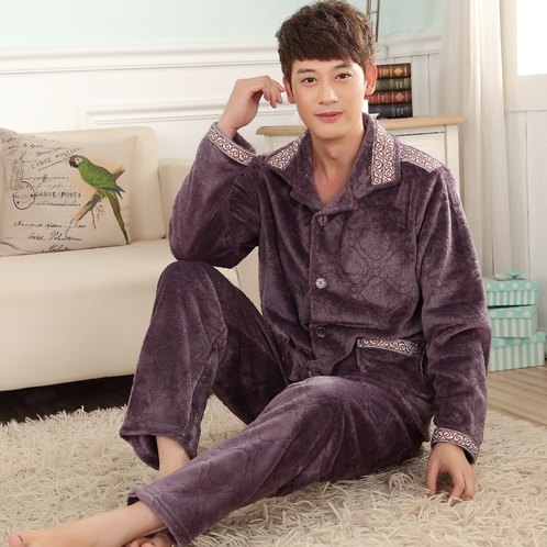 Men's 2015 new autumn and winter flannel pajamas suits