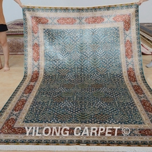 Yilong 6'x9' handmade carpets rectangel blue hereke design silk handmade rug (0295)