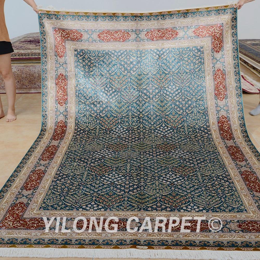 Tapis fait main Yilong 6'x9 ', tapis fait main en soie, design bleu - Textiles de maison