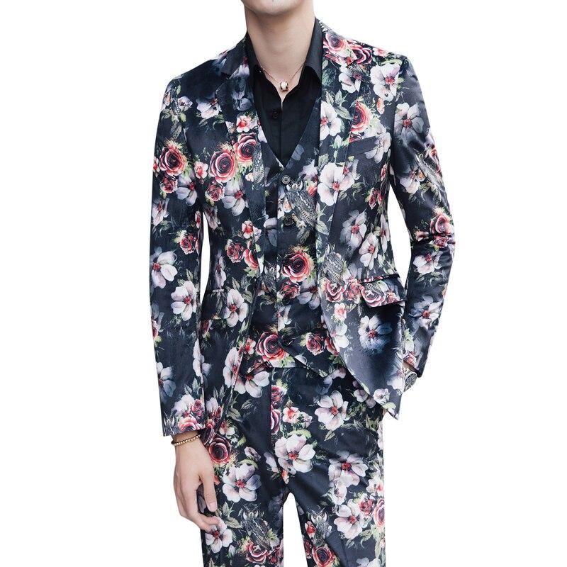 3 Pcs Suit Men Floral Suit 2018 Abito Uomo Cerimonia Costume Mariage Homme Casual Men Suit Business Tuxedos Slim Fit Suit