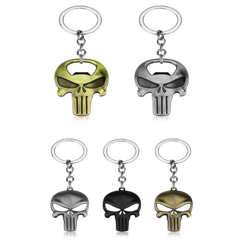Classic Game The Punisher Keychain Bronze Skull Logo Bottle Opener Car Key Holder Chain Pendant Keyring Jewelry Graduation Gift