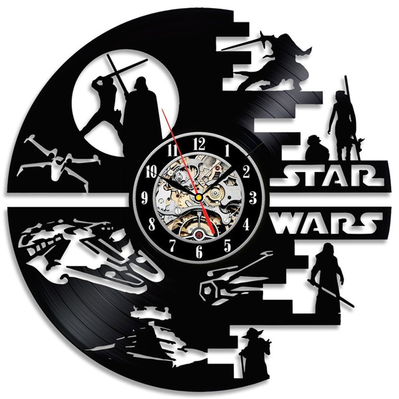 Star Wars Wall Clock Modern Design Movie Theme 3D Decorative Hanging Vintage Vinyl Record Clocks Wall Watch Home Decor 12 inch image