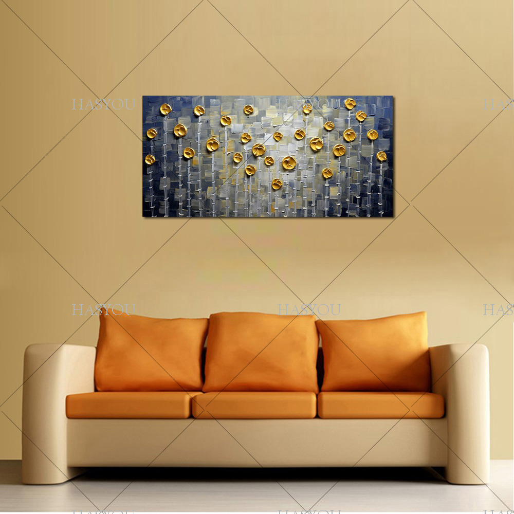 Hand Painted Modern Abstract Gold Grey Oil Painting Large vertical ...