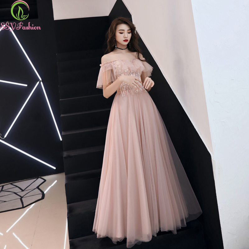 SSYFashion New Sweet Pink Prom Dress Boat Neck Floor-length Lace Appliques Beading Banquet Elegant Formal Evening Gowns Custom