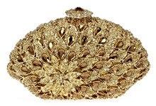 Luxus Volle Kristalle Damen Abend Kupplungen Licht Topas Frauen Party Hard Case Gold Farbe Handtaschen Schulter Kette Geschenkbox