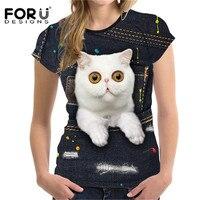 FORUDESIGNS Stylish Denim 3D Animal Dog Cat Printing T Shirt For Women Summer Casual Short Sleeve