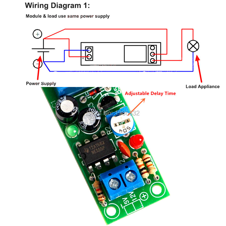 Ws16 Dc 10v 15v 12v Conduction Ne555 Delay Time Timing Relay Module Wiring Diagram Together With Power Supply Circuit On Timer Turn 160 Seconds Adjustable Switch In Relays From Home Improvement