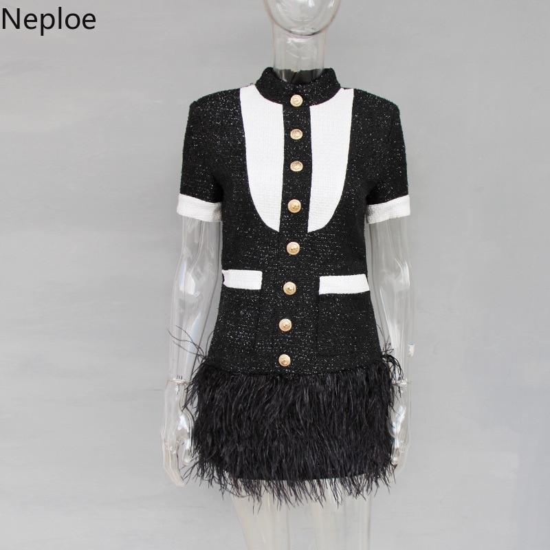 Di Nero Eleganti Falso Monopetto Jupe Autunno Donne Pockects Vestido 2019 Il Modo 42775 Piuma Patchwork Neploe Vestito Del Primavera Modis AHqvc
