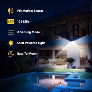 Image 5 - 180LEDs PIR hareket sensörlü ışık açık LED projektörler güneş enerjili işık duvar lambası ev bahçe güvenlik sundurma işıkları