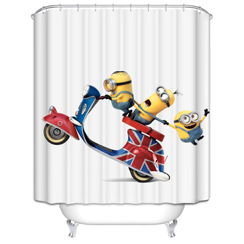 Yellow Shower Curtains Mischievous Minions Series Shower Curtains Bath Curtain Polyester Waterproof Bathroom Curtain Grinch red beach shower curtain in bathroom waterproof bath curtains 3d coconut palm seascape douchegordijn landschap nordic