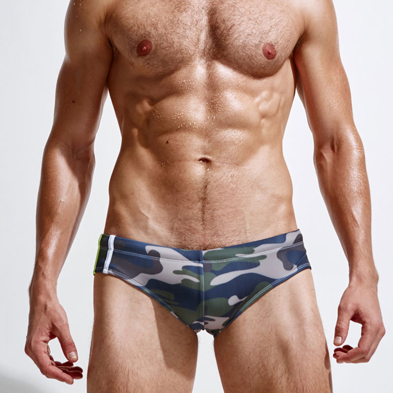 Superbody Brand Camouflage peldbikses Sexy Swimwear Vīriešu peldbikses Summer Men's Swim Brief Patchwork Gay Swimsuits