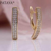 PATAYA – boucles d'oreilles pendantes carrées et longues, incrustation de Micro cire, Zircon naturel rond blanc, or Rose 585, bijoux de luxe simples et fins à la mode