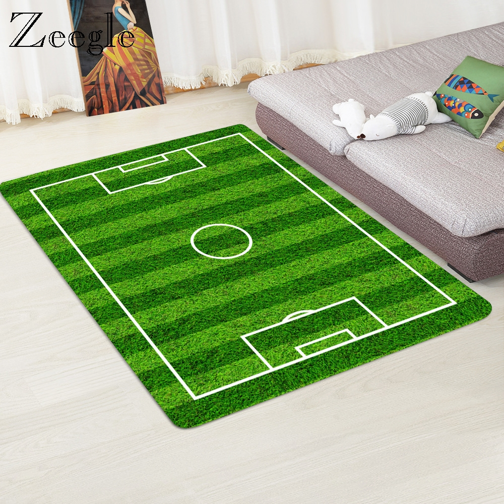 Zeegle Football Field Pattern Carpet For Living Room Child Bedroom Floor Mat Non-slip Door Mat Area Rug Green Grass Carpets