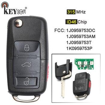 KEYECU 10x 315MHz ID48 Chip Flip 3+1 4 Button Remote Key Fob for Volkswagen Golf Beetle Je*tta Passat R32 Eos G*TI Rabbit CC