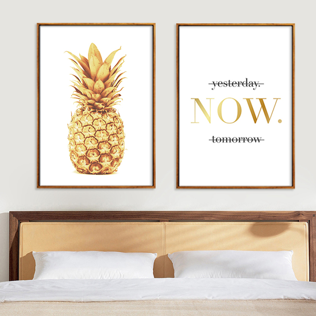 Nordic Gold Pineapple Plant English Quote Cuadros Wall Art Canvas Print Poster For Living Room Decoration