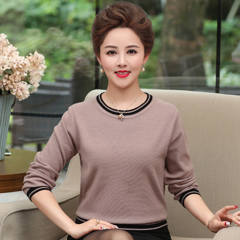 Middle Aged Women Sweater 2019 New Autumn Fashion O Neck Long Sleeve Pullovers Plus Size Kintted Sweater Tops Pull Femme
