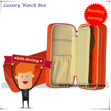 Reloj de Cuero genuino Viajes Caja De Almacenamiento de caja de la Caja para Relojes de Marca Mejor Navidad/Regalo de Cumpleaños GC02-LX-01ZO