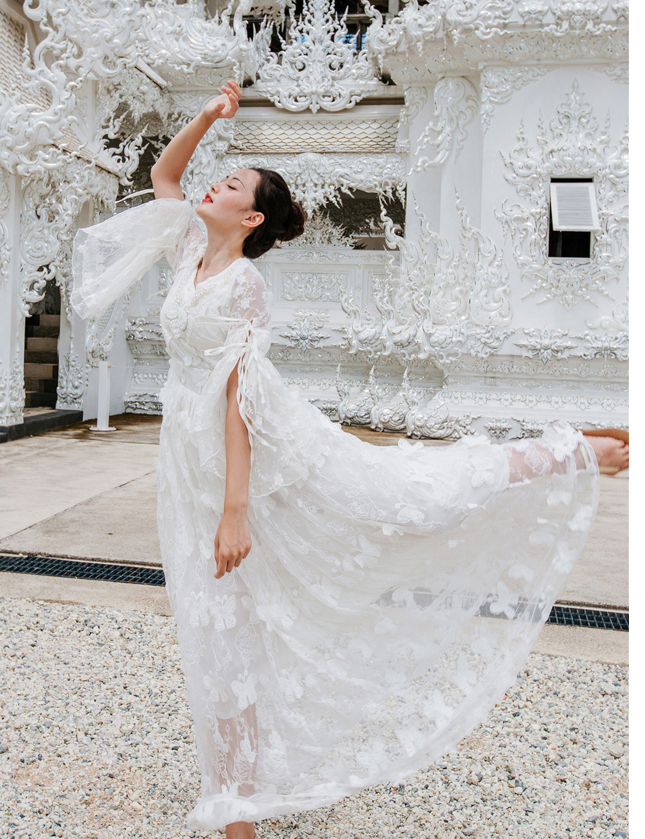 white snow queen long flare medieval sleeve butterfly embroidery dress Renaissance Gown princess Victoria dress/Marie Antoinette