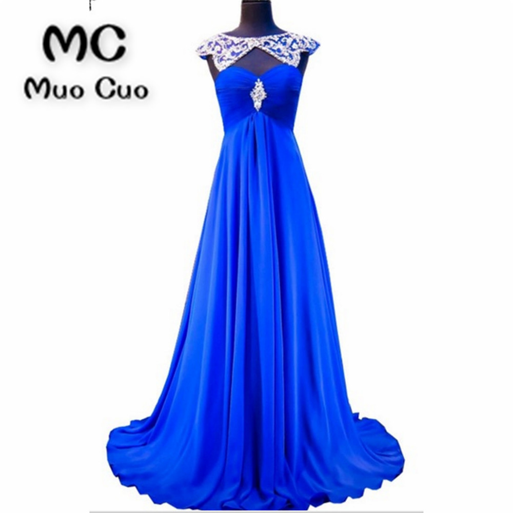 2018 Royer Blue   Prom     dresses   Long Crystals Beads Vestidos de fiesta   dress   for graduation Scoop Chiffon Formal Evening   Dress