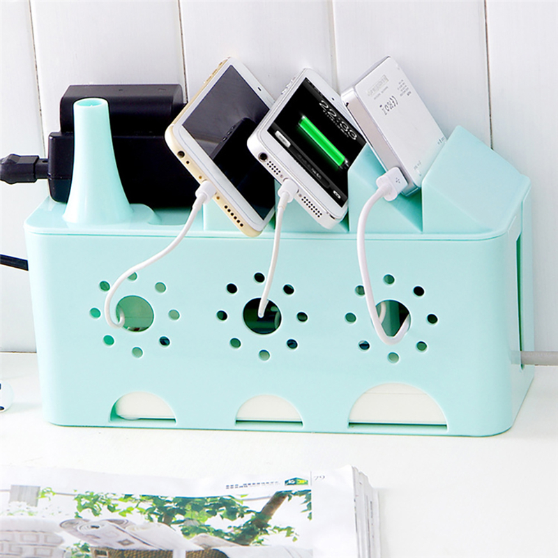 Power Strip Storage Boxes Organizer Cables Electric Wire Case Accessories Supplies Safety Socket Outlet Board Container