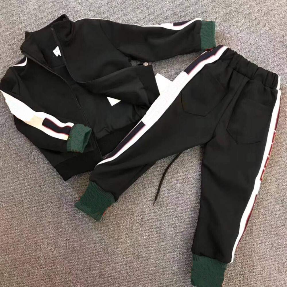 Children suit set boys girls Spring Black tracksuit tops with pants Two Pieces kid brand clothing latex two colors tops rubber garment suit for boys