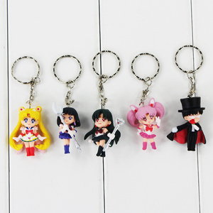 Image 3 - 5pcs/lot Cartoon Anime Sailor Moon Mars Jupiter Venus Mercury Keychains PVC Figures Toys Key Ring Pendants Gift for Kids