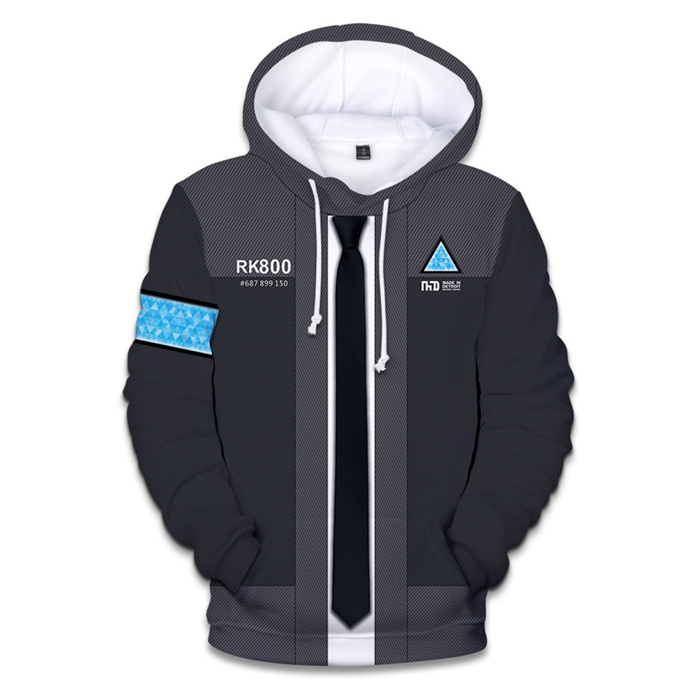 2018 New Detroit: Become Human Connor RK800 Hoodie Sweatshirt 3D Printed Hooded Hip Hop Pullovers Cosplay Costume Plus Size