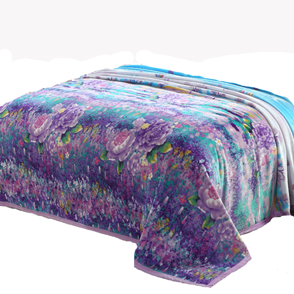 180x200cm For 15m Bed Floral Printed Coral Fleece Blanket Adult Winter  Thick Warm Big Blanket