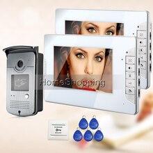 """ENVÍO de la Nueva 7 """"Sistema de Color de Vídeo Teléfono de Puerta de Intercomunicación 2 Monitor 1 HD Timbre Blanco RFID Lector de Cámara En Stock Por Mayor"""