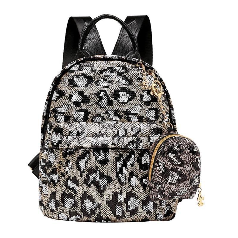 2Pcs/Set Sequins Leopard Print Backpack Clutch Women Casual Travel Shoulder School Leather Back Pack